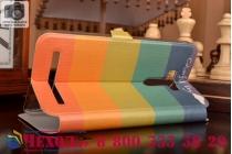 """Фирменный уникальный необычный чехол-книжка для  ASUS ZenFone Selfie ZD551KL с окошком для входящих вызовов """"тематика все цвета радуги"""""""