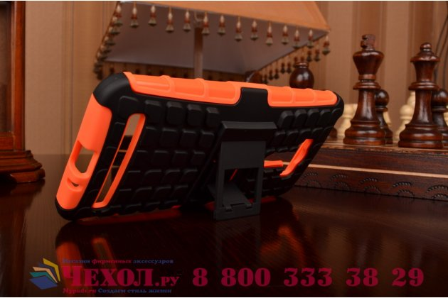 Противоударный усиленный ударопрочный фирменный чехол-бампер-пенал для ASUS ZenFone Selfie ZD551KL оранжевый