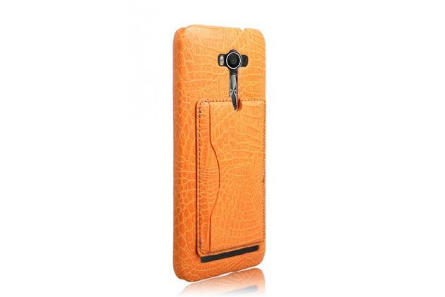 """Фирменная роскошная элитная премиальная задняя панель-крышка для ASUS Zenfone Selfie ZD551KL 5.5"""" из лаковой кожи крокодила с визитницей оранжевая"""