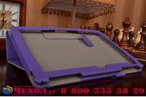 """Фирменный чехол бизнес класса для ASUS ZenPad 10 Z300CG/Z300CL/Z300C/Z300M с визитницей и держателем для руки фиолетовый натуральная кожа """"Prestige"""" Италия"""