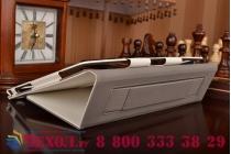 """Фирменный чехол бизнес класса для ASUS ZenPad 10 Z300CG/Z300CL/Z300C/Z300M с визитницей и держателем для руки белый натуральная кожа """"Prestige"""" Италия"""