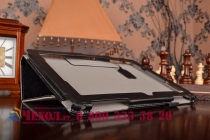 """Фирменный чехол обложка для ASUS ZenPad 10 Z300CG/Z300CL/Z300C/Z300M с визитницей и держателем для руки черный натуральная кожа """"Prestige"""" Италия"""