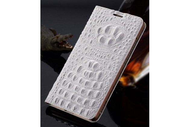"""Фирменный роскошный эксклюзивный чехол с объёмным 3D изображением рельефа кожи крокодила белый для ASUS Zenfone 2 Lazer ZE500KL/ZE500KG 5.0"""" . Только в нашем магазине. Количество ограничено"""