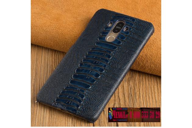 Фирменная роскошная эксклюзивная накладка из натуральной кожи страуса синего цвета для ASUS ZenFone 3 Deluxe ZS570KL 5.7 (Z016D). Только в нашем магазине. Количество ограничено