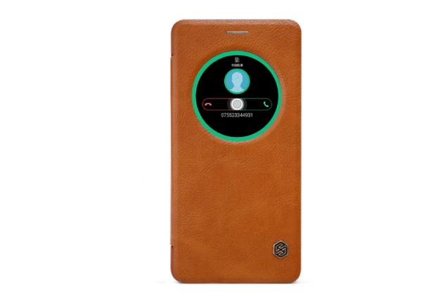 Фирменный оригинальный чехол-книжка для ASUS ZenFone 3 Deluxe ZS570KL 5.7 (Z016D) коричневый с окошком для входящих вызовов водоотталкивающий