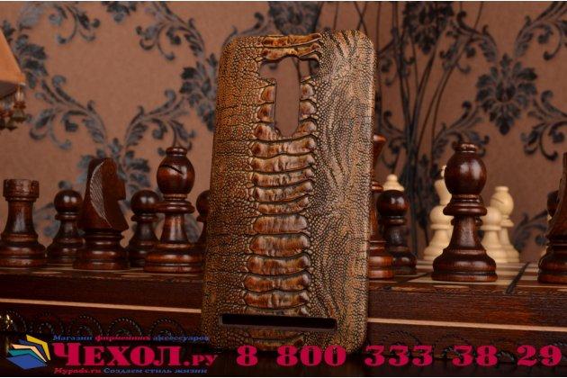 """Фирменная элегантная экзотическая задняя панель-крышка с фактурной отделкой натуральной кожи крокодила кофейного цвета для ASUS Zenfone 2 Lazer ZE550KL 5.5"""" . Только в нашем магазине. Количество ограничено."""