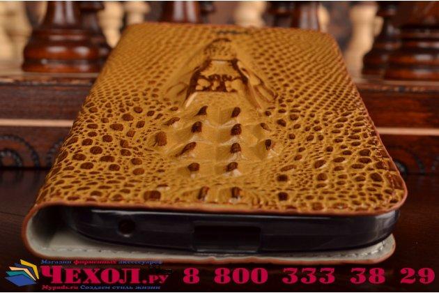 """Фирменный роскошный эксклюзивный чехол с объёмным 3D изображением кожи крокодила коричневый для ASUS Zenfone 2 Lazer ZE550KL 5.5""""  . Только в нашем магазине. Количество ограничено"""