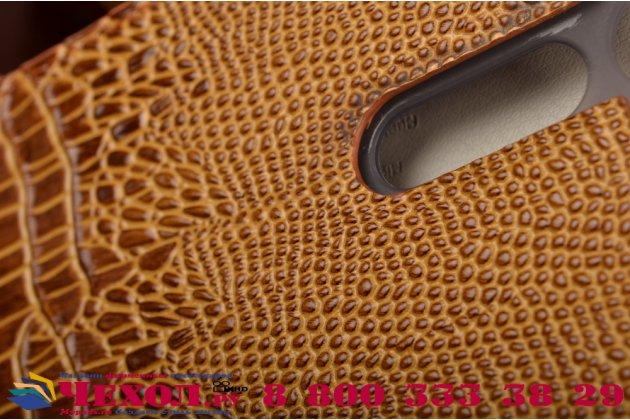 Фирменный роскошный эксклюзивный чехол с объёмным 3D изображением кожи крокодила коричневый для ASUS ZenFone 3 Deluxe ZS570KL 5.7 (Z016D) . Только в нашем магазине. Количество ограничено