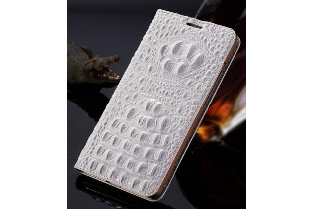 """Фирменный роскошный эксклюзивный чехол с объёмным 3D изображением рельефа кожи крокодила белый для ASUS Zenfone 2 Lazer ZE550KL 5.5"""" . Только в нашем магазине. Количество ограничено"""