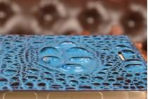 Фирменный роскошный эксклюзивный чехол с объёмным 3D изображением рельефа кожи крокодила синий для Asus Zenfone Max ZC550KL 5.5. Только в нашем магазине. Количество ограничено