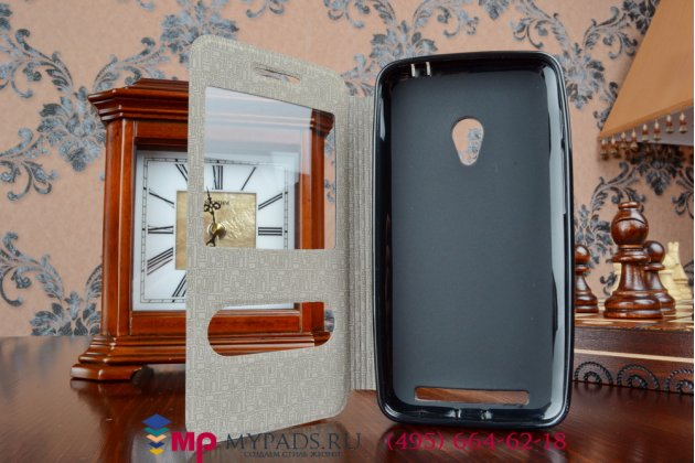"""Фирменный чехол-книжка для ASUS Zenfone 4 A450CG 4.5"""" черный кожаный с окошком для входящих вызовов"""
