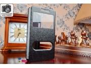 Фирменный оригинальный чехол-книжка для Lenovo K3/K30/A6000/A6010 Plus черный кожаный с окошком для входящих в..
