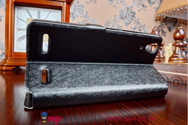 Фирменный оригинальный чехол-книжка для Lenovo K3/K30/A6000/A6010 Plus черный кожаный с окошком для входящих вызовов и свайпом