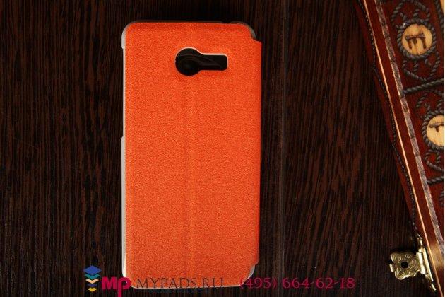 Фирменный оригинальный чехол-книжка с окошком для входящих для ASUS Zenfone 4 A400CG оранжевый пластиковый