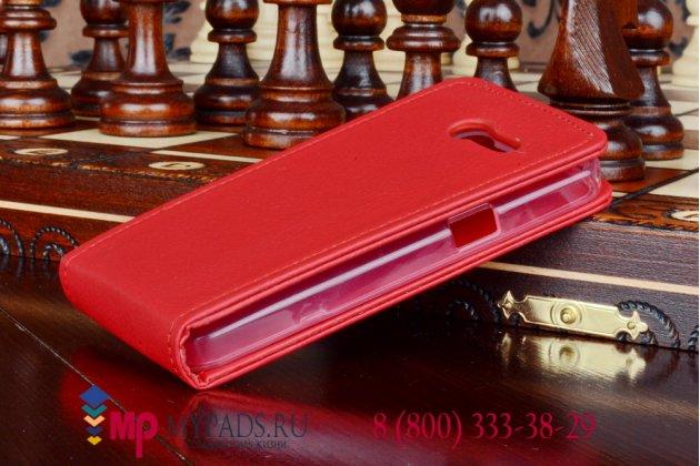 """Фирменный оригинальный вертикальный откидной чехол-флип для Asus Zenfone 4 A400CG красный из качественной импортной кожи """"Prestige"""" Италия"""