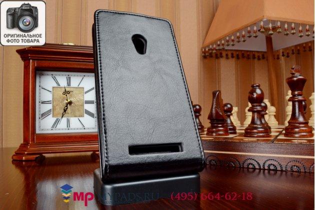 """Фирменный оригинальный вертикальный откидной чехол-флип для ASUS Zenfone 4 A450CG 4.5"""" черный из качественной импортной кожи """"Prestige"""" Италия"""