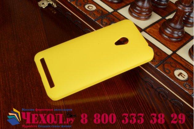 Фирменная задняя панель-крышка-накладка из тончайшего и прочного пластика для ASUS Zenfone 4 4.5 A450CG желтая