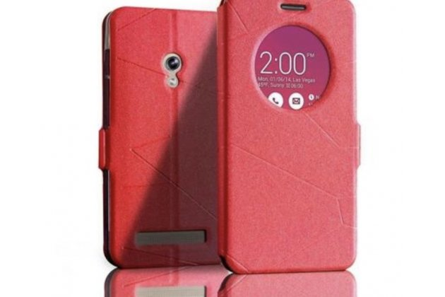 Ультра тонкий лёгкий чехол-обложка с окном для входящих вызовов для ASUS Zenfone 5 A500CG красный