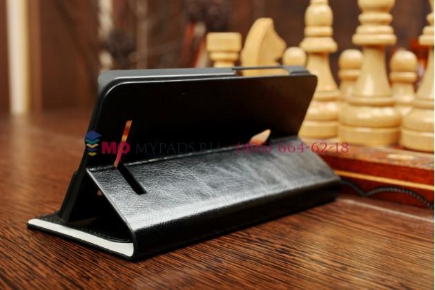 Фирменный оригинальный чехол-книжка для ASUS Zenfone 5 (A501CG-1G277RUS) черный кожаный