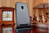 """Фирменный оригинальный вертикальный откидной чехол-флип для ASUS Zenfone 5 черный из качественной импортной кожи """"Prestige"""" Италия"""