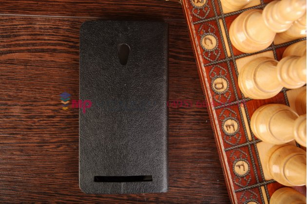 Фирменный оригинальный чехол-книжка для ASUS Zenfone 6 A600CG черный кожаный