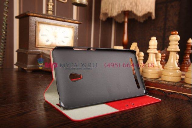 Фирменный оригинальный чехол-книжка для ASUS Zenfone 6 A600CG красный кожаный