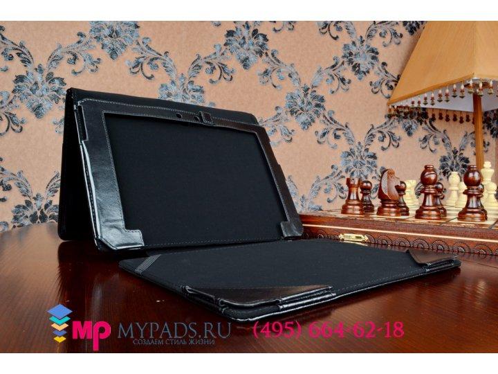 Фирменный чехол подставка для Asus EEE Pad Transformer TF101/TF101G с отделением под клавиатуру черный кожаный..