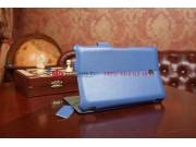 Фирменный чехол для Asus FonePad HD 7 ME372CG model K00E синий натуральная кожа