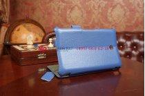 """Фирменный чехол для Asus FonePad HD 7 ME372CG model K00E синий натуральная кожа """"Deluxe"""" Италия"""