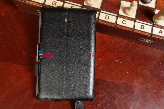 """Фирменный чехол-обложка для Asus Fonepad 7 ME372CG/ME372CL model K00E/K00Y черный натуральная кожа """"Deluxe"""" Италия"""