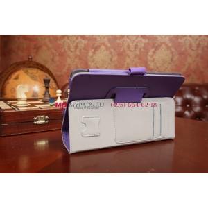 """Фирменный чехол-обложка для Asus FonePad HD 7 ME372CG с визитницей и держателем для руки фиолетовый натуральная кожа """"Prestige"""" Италия"""