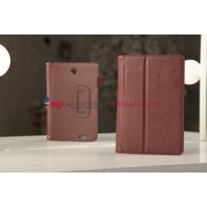 """Чехол-обложка для Asus FonePad ME371MG с визитницей и держателем для руки коричневый кожаный """"Prestige"""" Италия"""