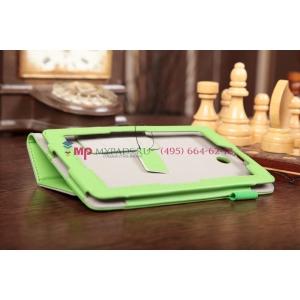 """Фирменный чехол-обложка для Asus FonePad ME371MG с визитницей и держателем для руки зеленый кожаный """"Prestige"""" Италия"""