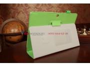 Фирменный чехол для Asus MeMO Pad FHD 10 ME302KL LTE с визитницей и держателем для руки зеленый натуральная ко..