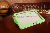 """Фирменный чехол для Asus MeMO Pad FHD 10 ME302KL LTE с визитницей и держателем для руки зеленый натуральная кожа """"Prestige"""" Италия"""
