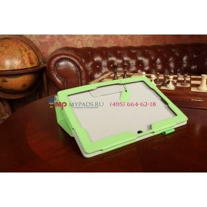 """Чехол для Asus MeMO Pad FHD 10 ME302C/ME302CL с визитницей и держателем для руки зеленый натуральная кожа """"Prestige"""" Италия"""