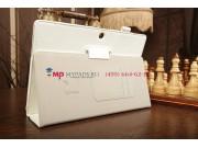 Чехол-книжка для Asus MeMO Pad FHD 10 ME302KL LTE с визитницей и держателем для руки белый натуральная кожа