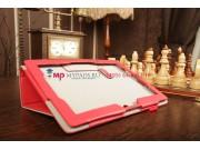 Фирменный чехол-обложка для Asus MeMO Pad FHD 10 ME302KL LTE с визитницей и держателем для руки красный натура..