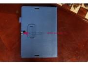 Чехол-обложка для Asus MeMO Pad FHD 10 ME302C/ME302CL с визитницей и держателем для руки синий натуральная кож..