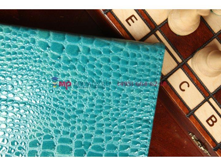 Фирменный чехол-книжка для Asus MeMO Pad FHD 10 ME302KL Model K005 лаковая кожа крокодила цвет морской волны б..