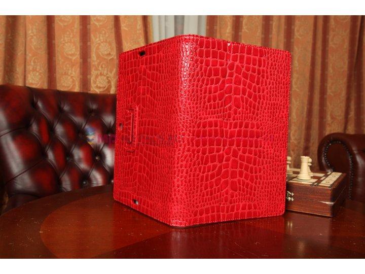 Фирменный чехол-футляр для Asus MeMO Pad FHD 10 ME302KL Model K005 лаковая кожа крокодила алый огненный красны..