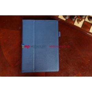 """Фирменный чехол-обложка для Asus MeMO Pad FHD 10 ME302KL синий с визитницей и держателем для руки синий натуральная кожа """"Prestige"""" Италия"""