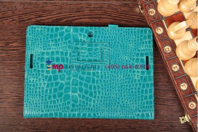 Фирменный чехол-обложка для Asus MeMo Pad Smart ME301T/ME301TG model K001 кожа крокодила синий