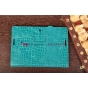 Фирменный чехол-обложка для Asus MeMo Pad Smart ME301T/ME301TG model K001 кожа крокодила синий..