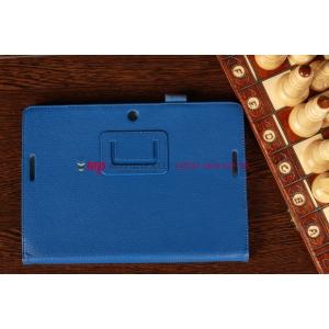 """Чехол-обложка для Asus MeMo Pad Smart ME301T/ME301TG с визитницей и держателем для руки синий кожаный """"Prestige"""" Италия"""