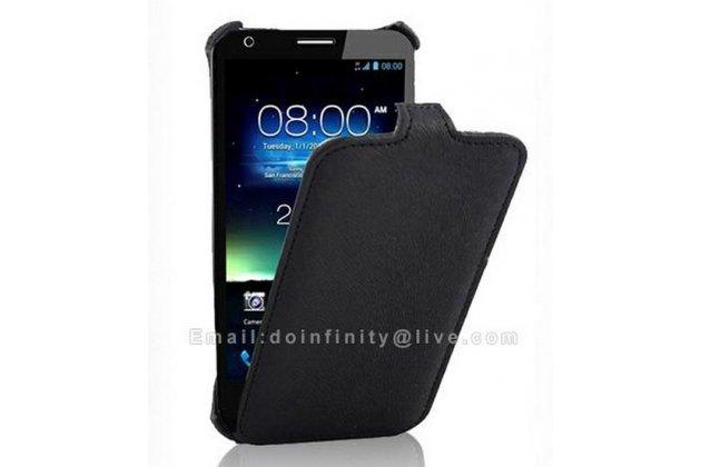 Фирменный оригинальный вертикальный откидной чехол-флип для Asus Padfone E A68M черный кожаный