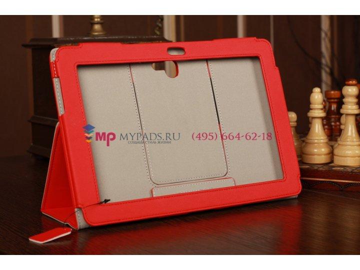 Фирменный чехол для Asus Padfone 2 с визитницей и держателем для руки красный кожаный