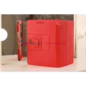 """Фирменный чехол для Asus Padfone 2 с визитницей и держателем для руки красный кожаный """"Prestige"""" Италия"""