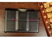 Фирменный чехол для Asus Padfone 3 Infinity A80 черный натуральная кожа