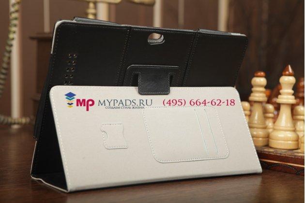 """Фирменный чехол-обложка для Asus PadFone Infinity A80 с визитницей и держателем для руки черный натуральная кожа """"Prestige"""" Италия"""